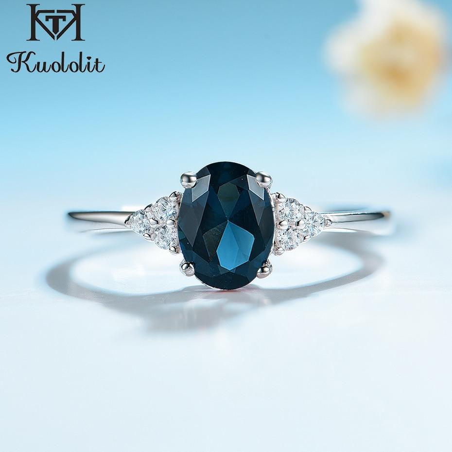 Kuololit, anillos de plata 925 sólida para mujer, Londres, Topacio Azul, piedra preciosa, compromiso de boda, compromiso, anillo nupcial, navidad