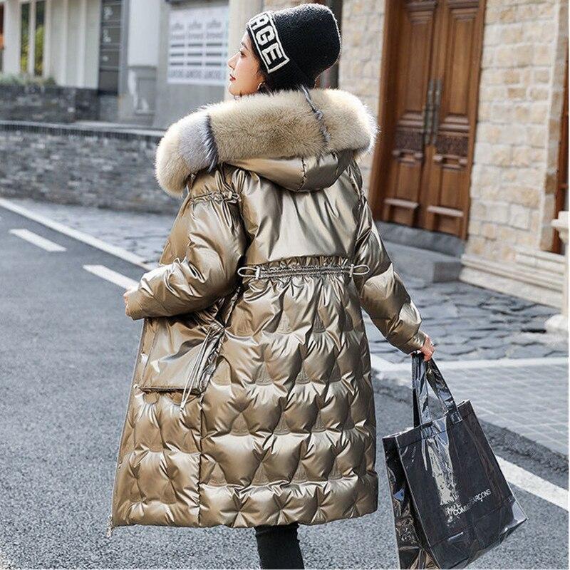 موضة الثعلب الفراء مقنعين سترات النساء 2021New الشتاء لامعة أسفل سترة أخضر أسود الذهب الإناث الدافئة رشاقته معطف طويل معطف