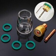 Juego de 7 unids/set de vasos de vidrio Pyrex #12, cuerpo de pinzas rechonchas, lentes de Gas, soplete de soldadura Tig para accesorios de soldadura Wp-9/20/25