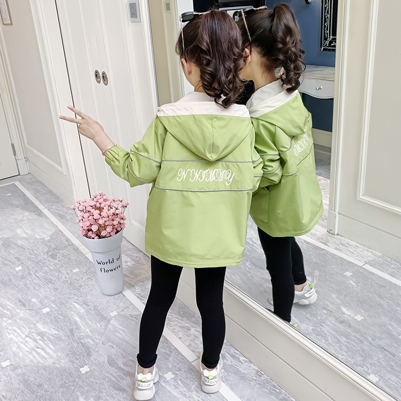 Girls Hooded Zipper Jackets 2021 Spring New Outerwear Spring Fall Fashion Kids Coats for School Girls Clothes For 6 10 12 Years enlarge