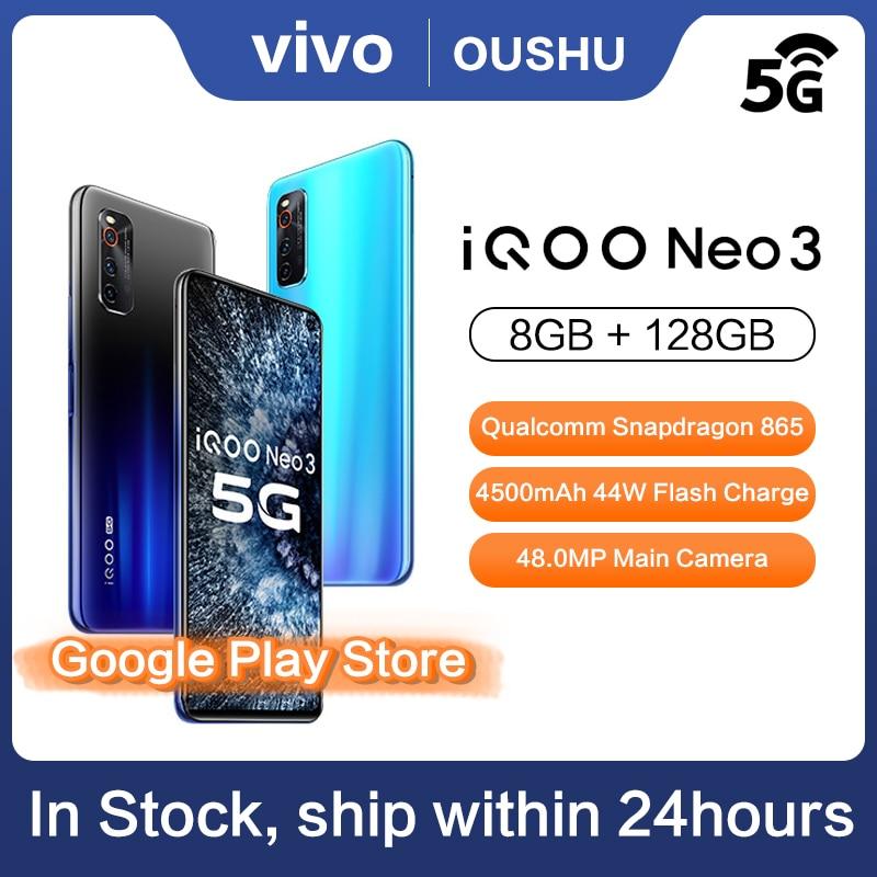 Перейти на Алиэкспресс и купить Оригинальный 5G смартфон IQOO neo 3 Двухрежимная мобильного телефона Snapdragon 865 6,57 ''гоночный Экран 8 ГБ 128 4500 мА/ч, 44W FlashCharge NFC