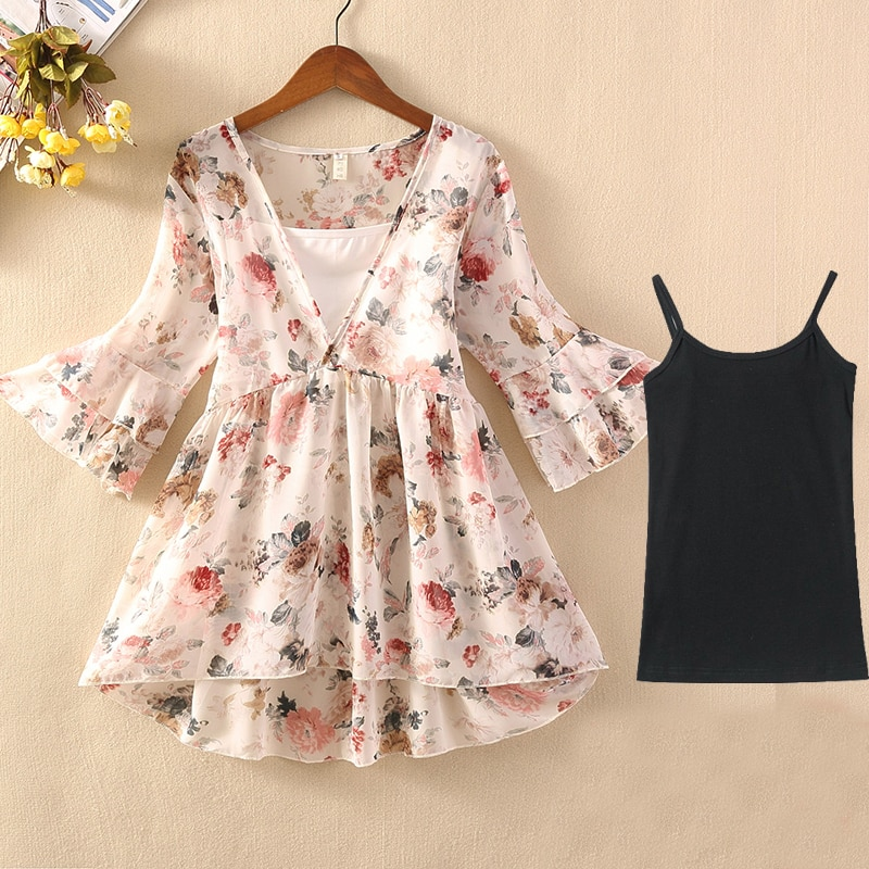 Floral Print Chiffon Blouse Shirt Women Ruched Flare Sleeve Layered Ruffle Design Transparent Blouse Elegant Chic Top Blusas New solid ruched detail blouse