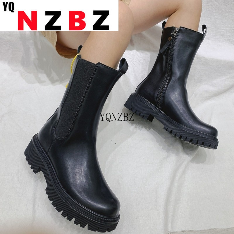 Womens Autumn Boots Fashion Chunky Motorcycle Botas Chelsea Ankle Boots Black Zipper Leather Platfor