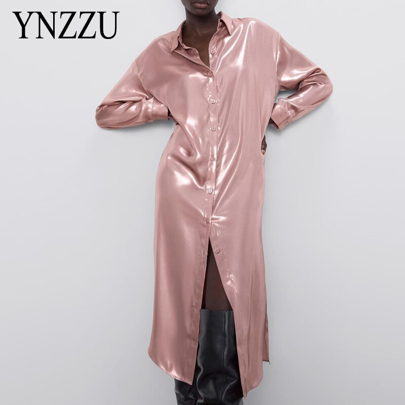 Casual Women Silk Stain Blouse Midi dress 2020 Spring Summer Pink Long sleeve Loosle Long shirt Tops Female Fashion YNZZU YD351