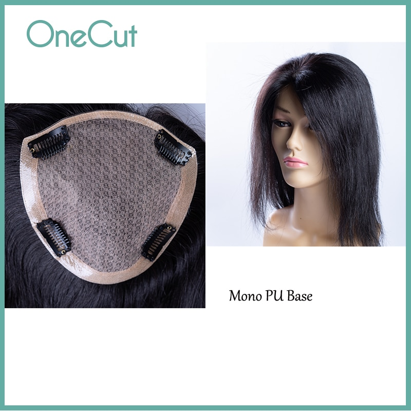 Intermediate Mono PU Base Topper Women Toupee Natural Black Straight Female Hairpieces Remy Human Hair Wigs Clip In Extensions