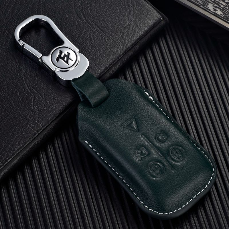 Leather Keyless Entry Remote Smart Control Key Case for Jaguar 2008 2009 2010 2011 2012 XF XFL XKR Key Fob Cover Holder