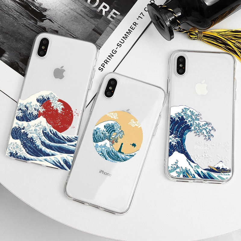 La Gran Ola de Kanagawa, Japón funda de silicona para iPhone 11 12 MAX X XS X XR SE 2020 Pro Max para iPhone 7 7 6S 6 5 5S SE Plus Caso