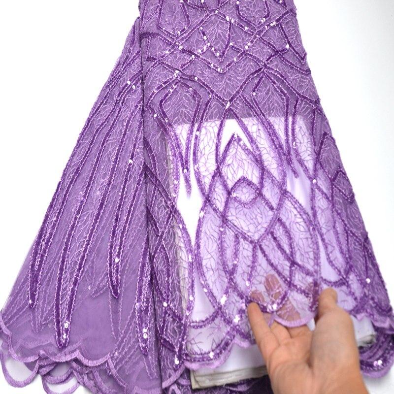Único novo lilás francês tecido de renda africano bordado tule tecido renda para vestido festa wo515