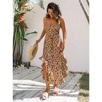 womens boho deep v neck leopard print long dress loose summer beach holiday sundress casual sukienka boho dress summer 2020