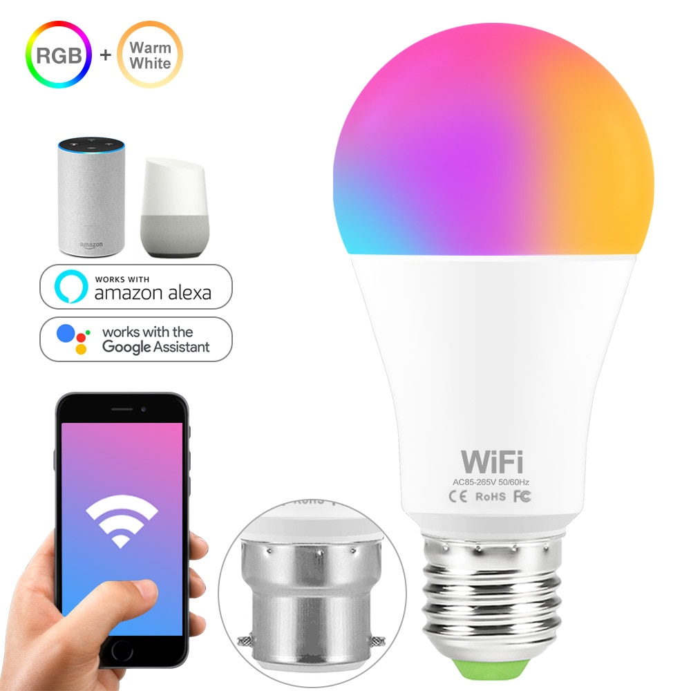 WiFi Smart Bulb RGB Lamp 15W WiFi Magic Light Lamp E27 B22 110V 220V Color Change Smart Home Bulbs Compatible Google Home Alexa