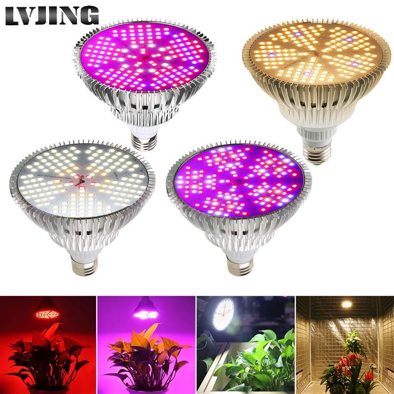 LVJING 100 Вт Светодиодный светильник для выращивания растений E27 полный спектр светодиодный светильник для выращивания растений фитолампа для...