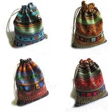 3 uds. Bolsas de algodón para joyas, bolsas de regalo étnico, bolsas con cordón con estampado Tribal a rayas, bolsas de joyería navideña de 9,5x12cm