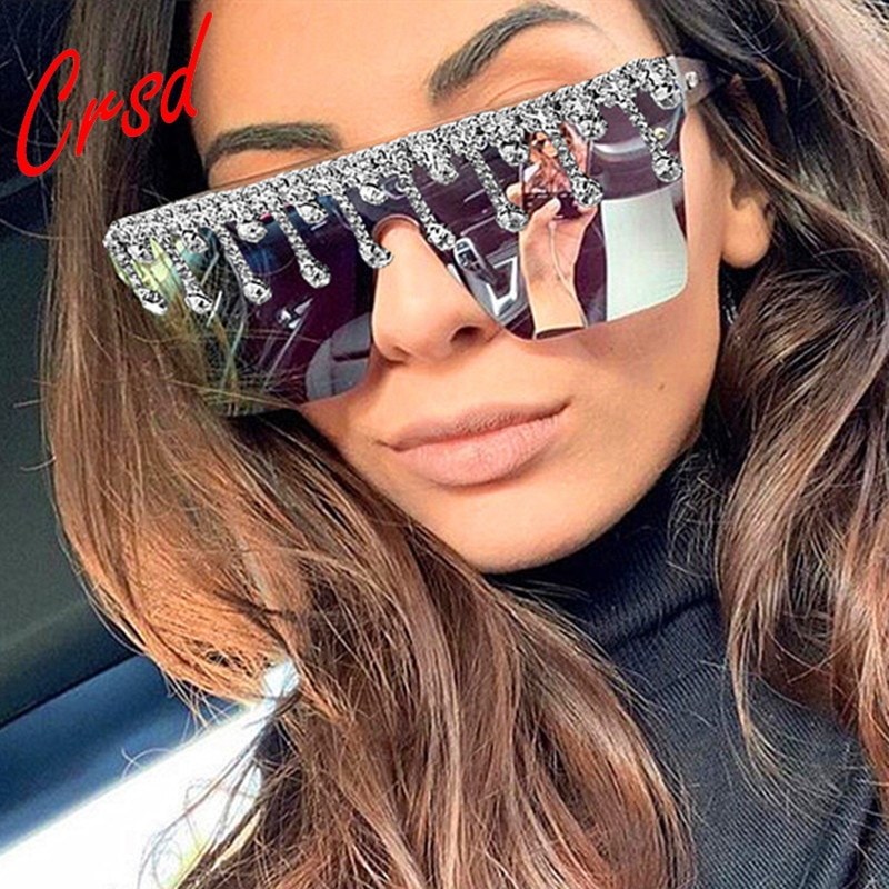 Crsd 2020 diy brilhando diamante óculos de sol feminino marca designer gotejamento plástico quadrado óculos de sol feminino sem aro colorido tons