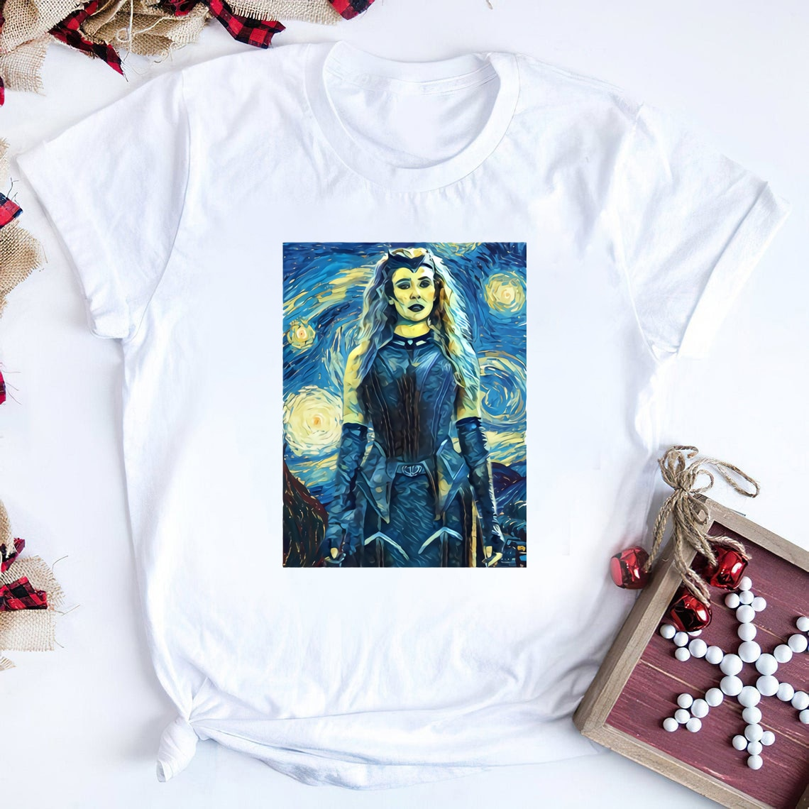 Wanda Maximoff Van Gogh Style T-Shirt Tv Show Wandavision Inspired Tee Funny Scarlet Witch Graphic Tee Aesthetic Tops