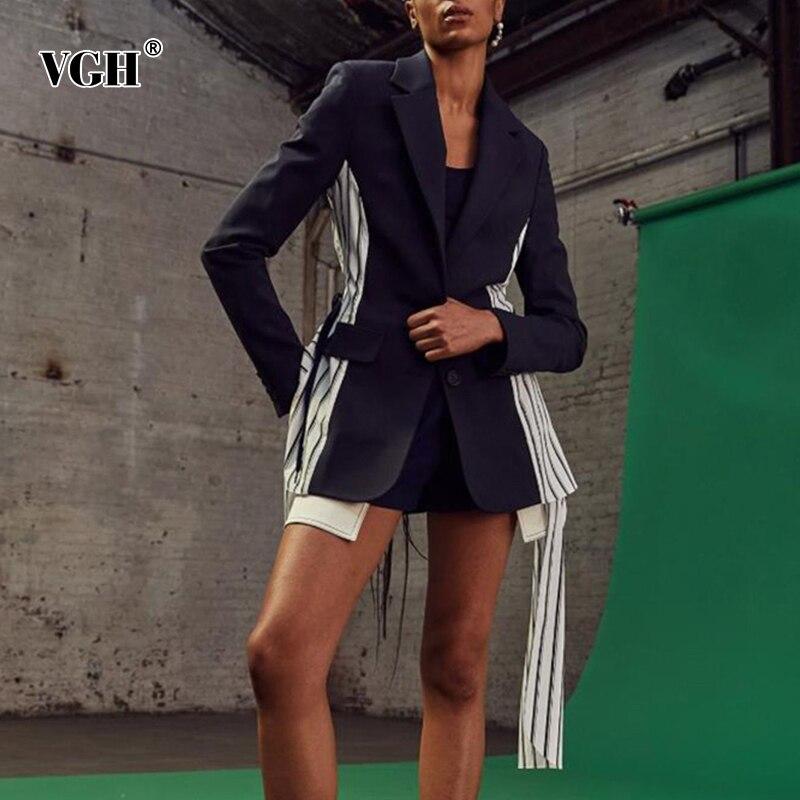 بلوزرات غير رسمية مخططة من VGH للنساء أكمام طويلة بألوان مختلفة معاطف جديدة للنساء 2021 Style