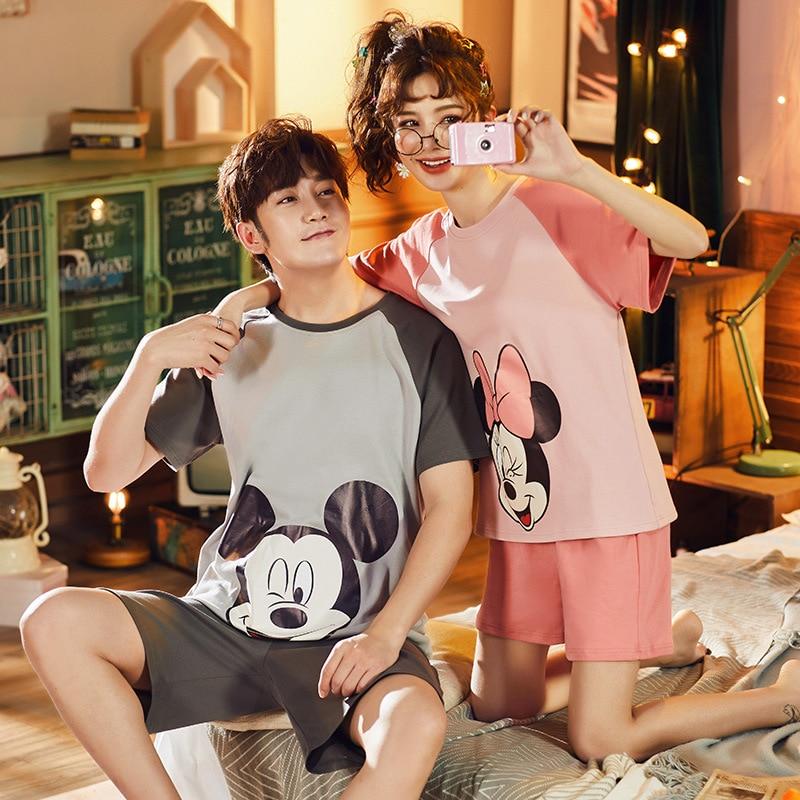2020 Summer Cotton Couple Pyjama Pjs Woman Men Mickey Printing Indoor Clothing Home Suit with Shorts Sleepwear Pijama Mujer