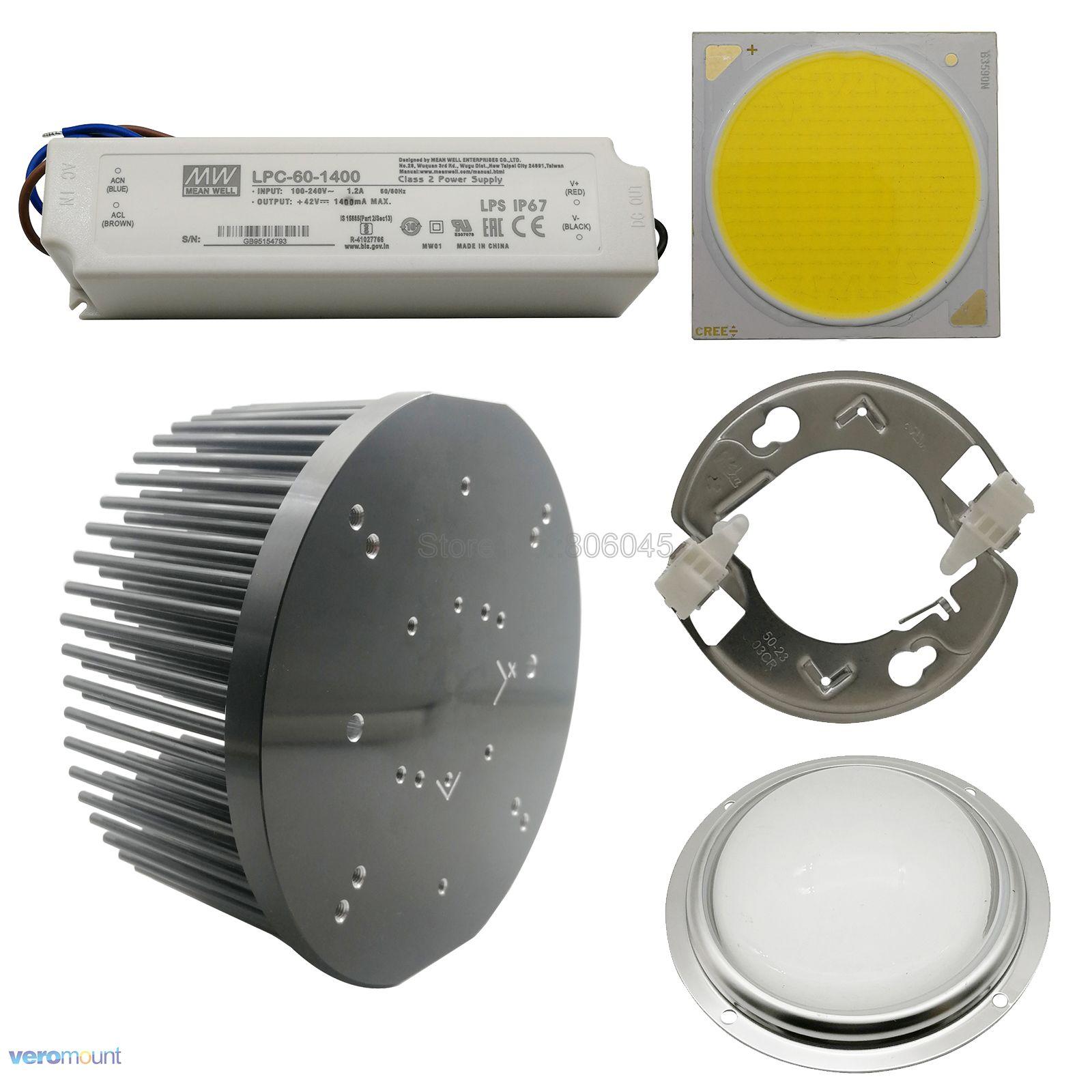Cree cxb3590 cob led cresce a luz titular ideal 50-2303cr 133mm dissipador de calor meanwell motorista LPC-60-1400 100mm lente de vidro diy conjunto completo