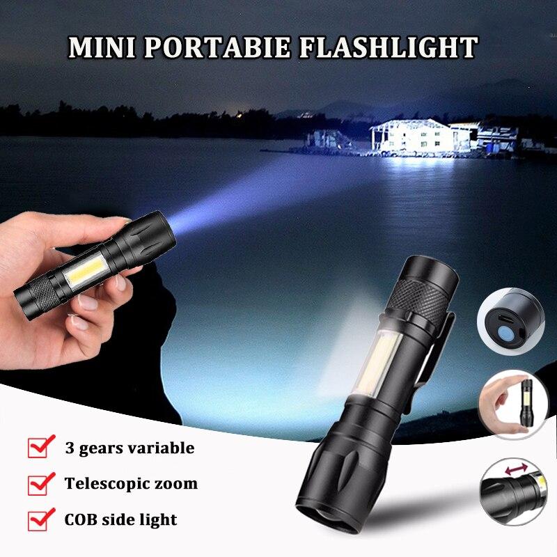 Mini Flashlight Rechargeable Usb Aluminum Alloy Led Bulbs Flashlights Adjustable Zoom Waterproof Cob