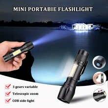 Mini Flashlight Rechargeable Usb Aluminum Alloy Led Bulbs Flashlights Adjustable Zoom Waterproof Cob 3 Model Lamp Beads Torches