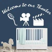 Autocollants muraux en vinyle bienvenue dans notre enseigne de cinema  decoration de salle de cinema a domicile  decalcomanies de projecteur de Film  affiche de Film HQ960
