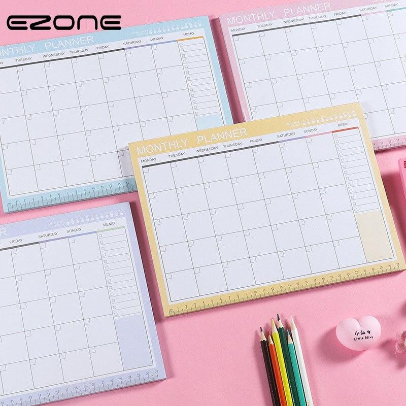 EZONE A4 cuaderno de Plan mensual planificador semanal cuaderno de mesa agenda de planificación Libro de estilo Simple adhesivo Bloc de notas papelería de oficina