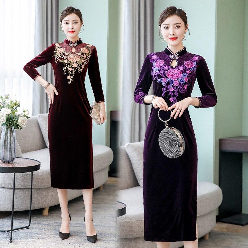 Vestido Qipao de terciopelo Cheongsam moderno de fiesta de noche para mujeres chinas