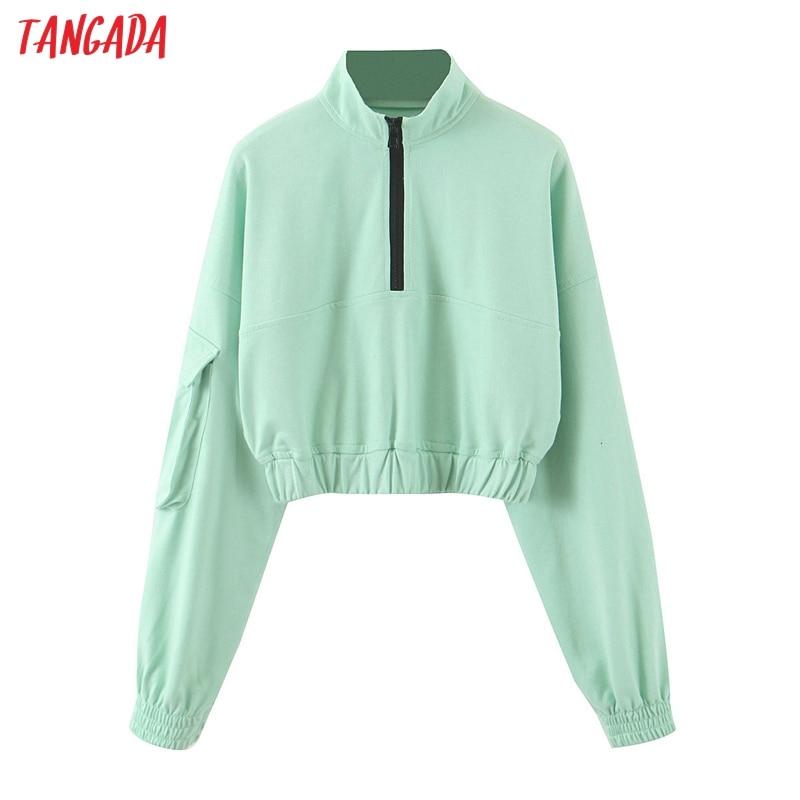 Tangada mujeres cultivo menta sudaderas oversize cremallera larga sleeveloose jerseys tops mujer SL93