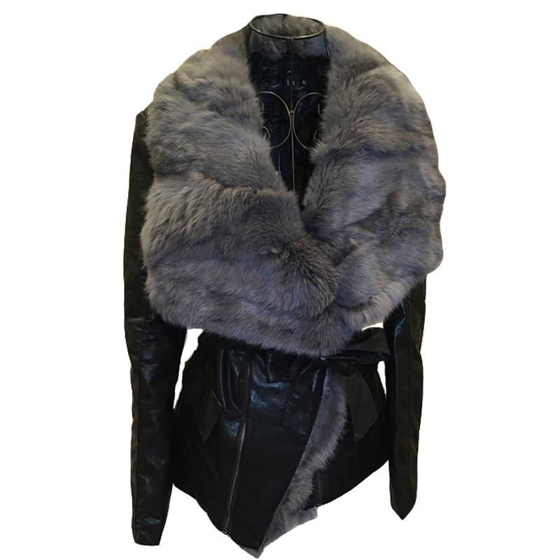 2020 Regular Jacket Zippers Women Jaqueta Couro Belt Full Autumn And Winter New Women's V-neck Pu Real Fur Collar Woman enlarge
