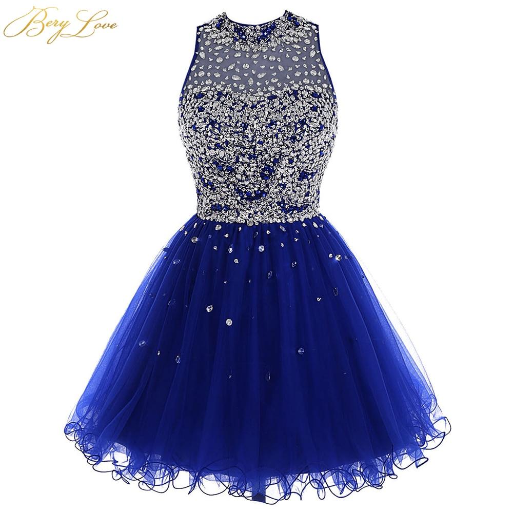 Luxo grânulo vestido de baile 2020 azul real mini cristal lantejoulas tule curto vestido de baile da menina buraco chave volta mini vestido de festa