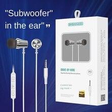 P3 Earphone with Microphone Headsets In-ear Earplugs Subwoofer Earphones Universal Headset Wired Volume Adjustment Earphone