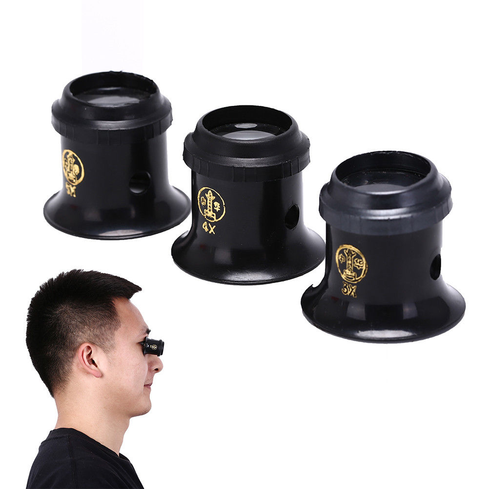 Watch 3X 4X 5X Monocular Glass Magnifier Loupe Lens BlackJeweler Tool Eye Magnifier Watch Jewelry Re