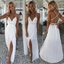 Женское кружевное Длинное Платье Макси Boho, вечерние платья белого и красного цвета размера плюс