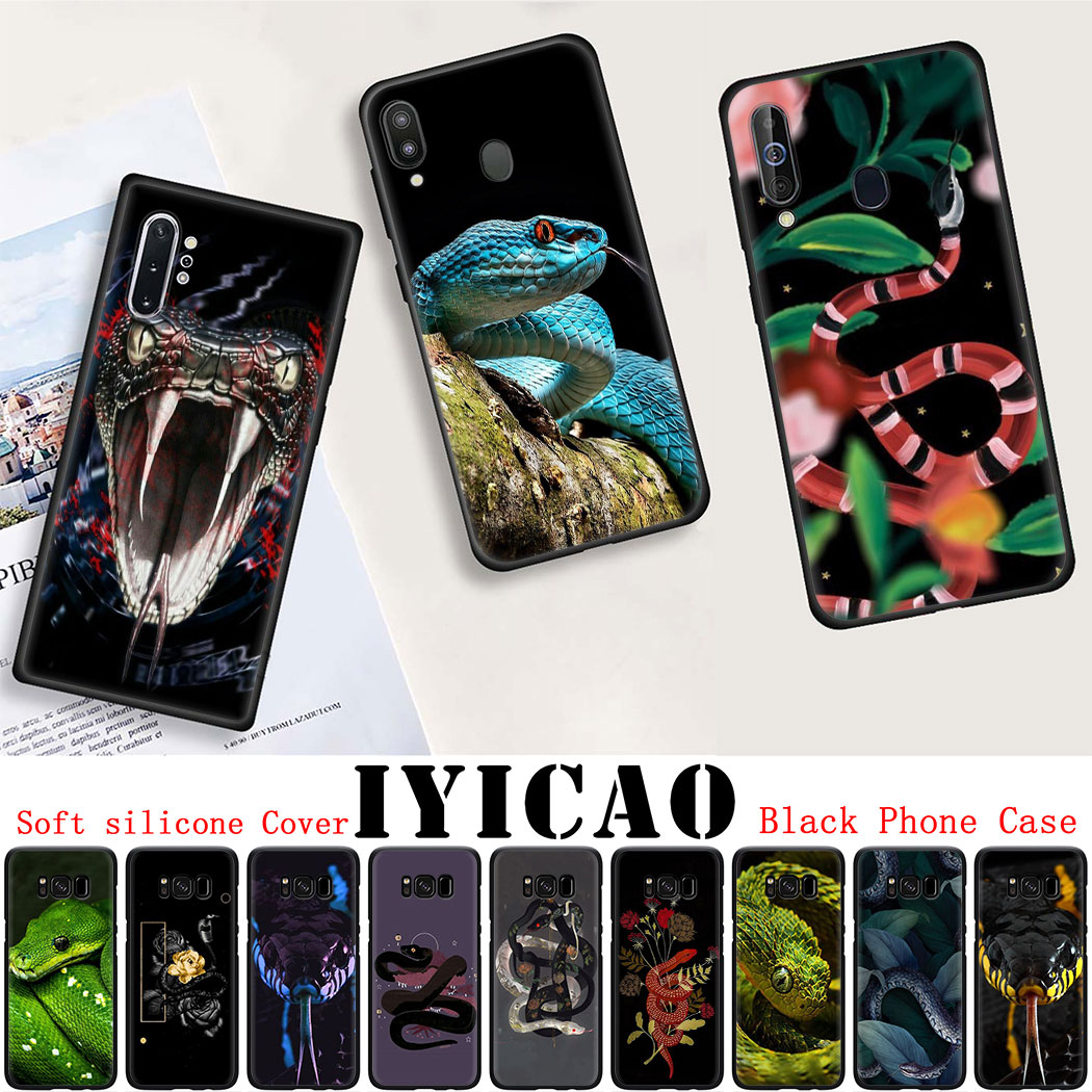 Soft silicone Cover for Samsung Note 8 9 S6 S7 Edge S8 S10 10 Plus S10E Black Phone Case Snakes and
