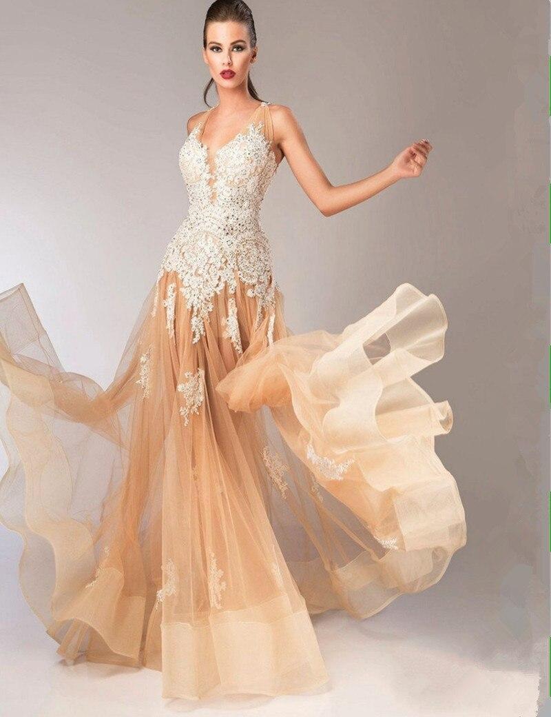 2018 larga entallada vestido de fiesta Formal vestido de noche con encaje apliques pelo de caballo bajo vestidos de gala vestidos para la madre de la novia