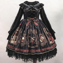 Kawaii fille gothique palais doux fille lolita robe vintage dentelle nœud papillon support taille haute impression robe victorienne lolita op cos
