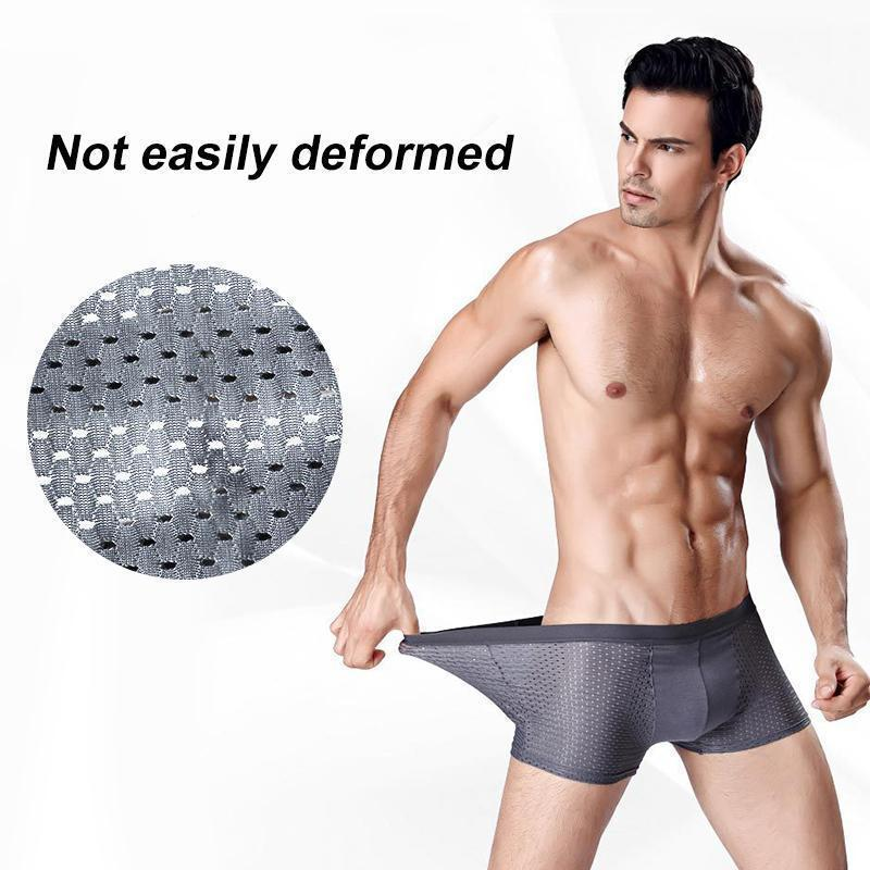 Breathable Ice Silk Boxer Briefs For Men Underwear Modal Panties Male Underpants Sexy Shorts Gray Me