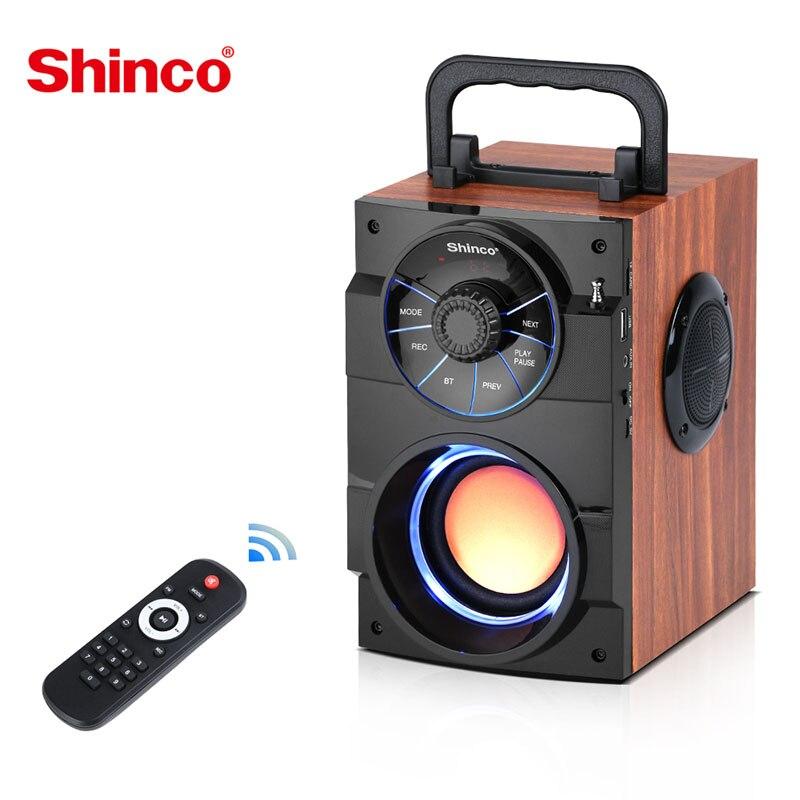 Altavoz portátil Shinco con Bluetooth, altavoz estéreo inalámbrico, Subwoofer, bajo, caja de columna, compatible con Radio FM TF, AUX, Control remoto USB
