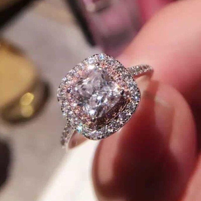 Nueva joyería de princesa cuadrada de Piedra Rosa a la moda, anillo de compromiso de boda para mujer