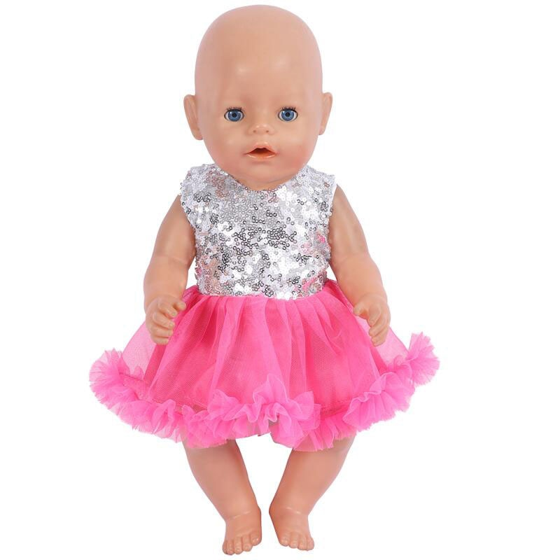Кукольная одежда подходит для детей 17 дюймов 18 дюймов Одежда для новорожденных 43 см детская одежда модный костюм платье комплект аксессуар...