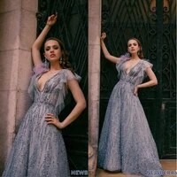 evening dresses v neck short sleeves lace sequins beads prom gowns 2020 custom made sweep train a line special occasion dress