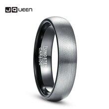4mm 6mm anneau brossé finition alliance confort ajustement dôme mat anneaux intérieurs noir carbure de tungstène anneau T165R T154R