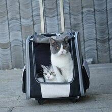 Bolso valija con carrito para gatos de doble propósito, mochila para mascotas, vallas portátiles para gatos y gatos, bolsa de viaje transpirable para perros