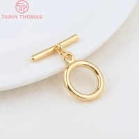 6 sets o14mm t20mm hole 2mm 24k gold color plated brass round bracelet o toggle clasps high quality diy jewelry accessories