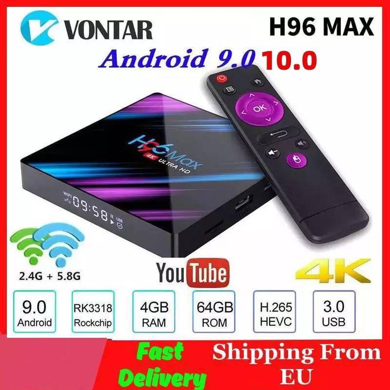 Vontar H96 MAX Smart TV Box Android 10.0 RK3318 H96Max 4K WiFi Android 10 Media Player Youtube Set T
