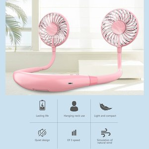 Sports Fan Usb Charging Portable Foldable Hanging Neckband Fan Mini Portable Sports Fan 3 Speeds Rechargeable Air Cooler