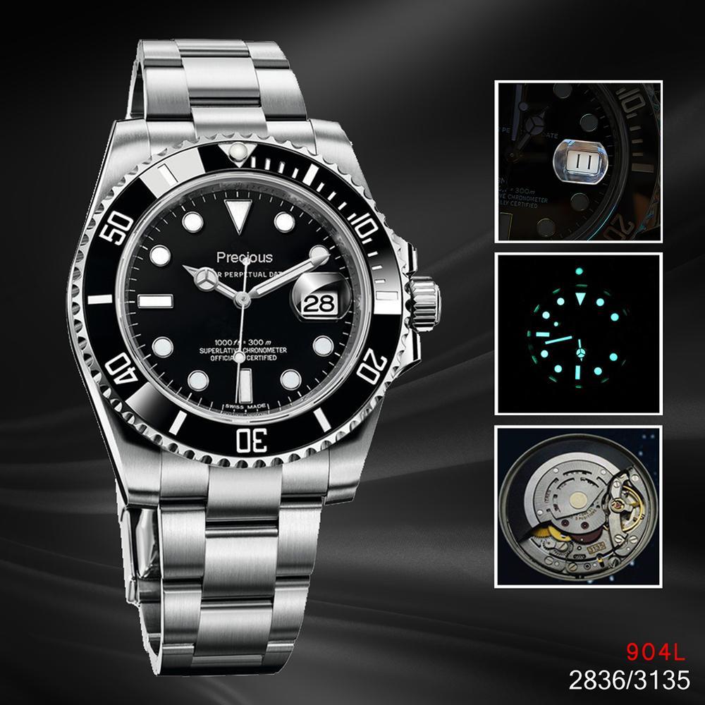 Reloj mecánico para hombre 116610 con calendario automático Noob V10 A3135 V8 2836, reloj luminoso deportivo de negocios de acero inoxidable