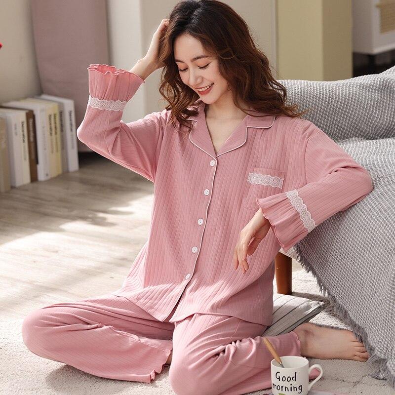 بيجامات قطنية 100% للنساء بيجامات وردية اللون ملابس نوم قطنية ربيعية ملابس نوم للسيدات موضة 2021 بيجامات نسائية جديدة