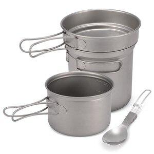 Camping Titanium Cookware Set 1000ml 750ml Pot Pan Spork Set for Outdoor Camping Hiking Backpacking Picnic Cooking Equipment