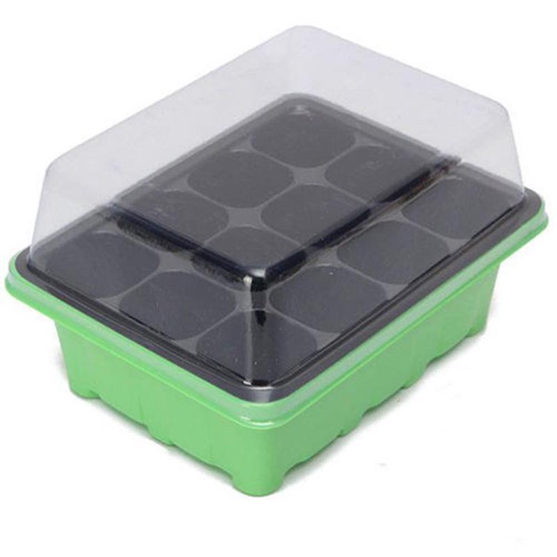 3 pçs/pçs/set 12 buracos plântulas de plástico engrossar vegetal flor mudas berçário pote planta crescer propagação germinação caixa plana