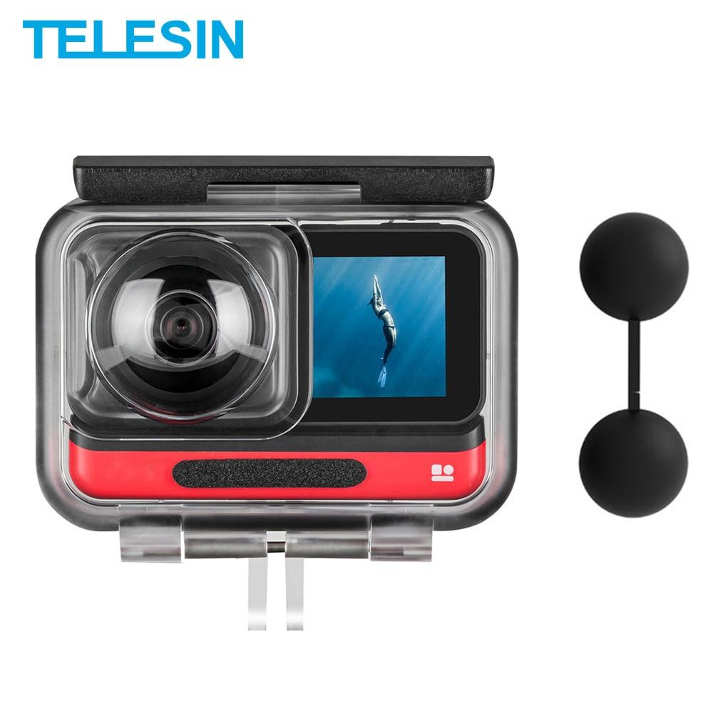 TELESIN 45 متر تحت الماء الإسكان صندوق مقاوم للماء غطاء للعدسات حامي ل Insta360 واحد R 360 طبعة كاميرا الملحقات